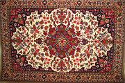 Bijar Red And Khaki Silk Carpet Persian Art Print by Zahra Saee