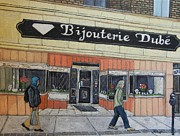 Montreal Paintings - Bijouterie Dube by Reb Frost