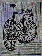 Linoleum Block Print Drawings Posters - Bike 4 on Map Poster by William Cauthern