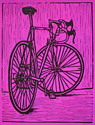 Linoleum Print Drawings - Bike 4 by William Cauthern