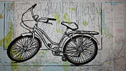Linocut Posters - Bike 5 on map Poster by William Cauthern