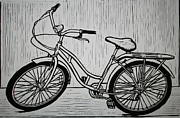 Linocut Prints - Bike 5 Print by William Cauthern