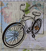 Linoleum Block Print Drawings Posters - Bike 6 on map Poster by William Cauthern