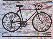 Block Print Drawings - Bike 8 on Map by William Cauthern