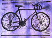 Block Print Drawings - Bike 8 by William Cauthern