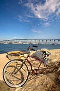 Bay Bridge Art - Bike and a Brdige by Peter Tellone