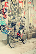 Travel Photography Prints - Bike at Graffiti Wall. Trash Sketches from the Amsterdam Streets Print by Jenny Rainbow