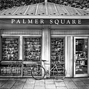 Pattern Book Prints - Bike At Palmer Square Book Store In Princeton Print by Ben and Raisa Gertsberg