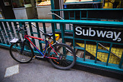 Manhattan Usa Posters - Bike at subway entrance Poster by Garry Gay