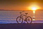 Skates Prints - Bike at Sunset in Newport Beach Print by Harald Vaagan