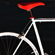 Urban Theme Acrylic Prints - Bike In Black White And Red No 1 by Ben and Raisa Gertsberg