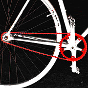 Chains Posters - Bike In Black White And Red No 2 Poster by Ben and Raisa Gertsberg