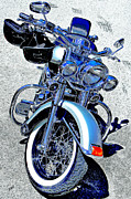 Asphalt Digital Art Posters - Bike In Blue For Two Poster by Ben and Raisa Gertsberg