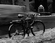 Howard Heywood Metal Prints - Bike in the Snow Metal Print by Howard Heywood