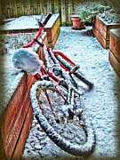 Joan Minchak Framed Prints - Bike in Winter Framed Print by Joan  Minchak