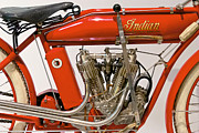 Red Flame Framed Prints - Bike - Motorcycle - Indian Motorcycle engine Framed Print by Mike Savad