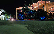 St. Lucie County Prints - Bike Night in Blue Light Print by Megan Dirsa-DuBois