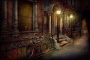 Night Scenes Framed Prints - Bike - NY - Greenwich Village - In the village  Framed Print by Mike Savad