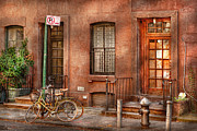 Pillars Prints - Bike - NY - Urban - Two complete bikes Print by Mike Savad