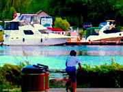 Water Vessels Paintings - Bike Path View Of The River Boats Along Lachine Canal Montreal Summer Landscape Scenes Carole Spanda by Carole Spandau