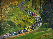 Lance  Armstrong Paintings - Bike Race Belgium Arden Spring Classics by Gregory Allen Page