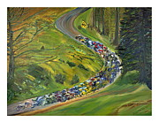Lance Armstrong Painting Originals - Bike Race by Impressionism Modern and Contemporary Art  By Gregory A Page