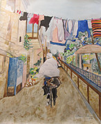 Watercolorist Framed Prints - Bike Rider in Jerusalem Framed Print by Esther Newman-Cohen