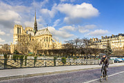 Bike Rider Prints - Bike Road Over the Seine - Notre Dame de Paris Print by Mark E Tisdale