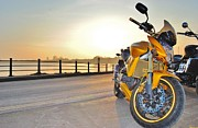 Honda Motorcycles Prints - Bike Sunset 2 Print by Paul Fox