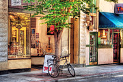 Urban Scenes Art - Bike - The Music Store by Mike Savad
