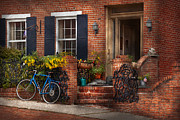 Blue Brick Prints - Bike - Waiting for a ride Print by Mike Savad