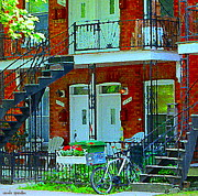 Staircase Paintings - Bikes Balconies Brick Houses Flower Boxes Verdun Duplex Stairs Summer Scenes Carole Spandau by Carole Spandau