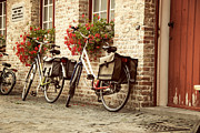 Brick Building Prints - Bikes in the School Yard Print by Juli Scalzi