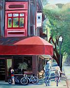 Ride Painting Originals - Bikes in Town by Colleen Proppe