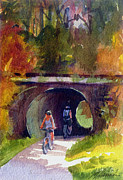 Bicycling Paintings - Biking the Tow Path by Melissa Harris
