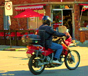 Bistro Paintings - Biking To Bernard Bistro Brick Building Cold Beer Hot Dogs Cafe Street Scene Montreal Carole Spandau by Carole Spandau