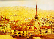 Gold Foil Paintings - Bild Fraumuenster by MotionAge Art and Design - Ahmet Asar