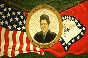 Usa Flag Pastels Framed Prints - Bill Clinton 42nd American President Framed Print by Peter Art Print Gallery  - Paintings Photos Posters