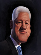 Hillary Clinton Digital Art Posters - Bill Clinton Poster by Derek Wehrwein