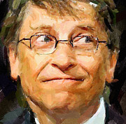 Business-travel Digital Art Prints - Bill Gates Print by Yury Malkov