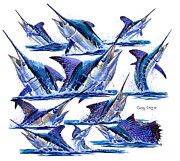 Striped Marlin Prints - Bill Heads Print by Carey Chen