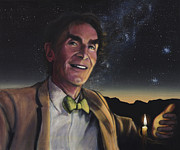 Cosmos Painting Framed Prints - Bill Nye - A Candle in the Dark Framed Print by Simon Kregar