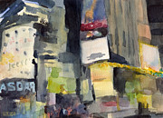 Waiting Room Paintings - Billboards Times Square at Night Watercolor Painting of NYC by Beverly Brown Prints