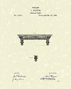 Pool Drawings Posters - Billiard Table 1884 Patent Art Poster by Prior Art Design