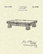Sports Art Drawings Posters - Billiard Table 1932 Patent Art Poster by Prior Art Design