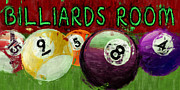 Ball Room Digital Art Posters - Billiards Room Abstract  Poster by David G Paul