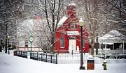 Billie Creek Village Winter Scene Print by Virginia Folkman