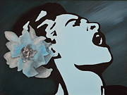 Billie Holiday Mixed Media Originals - Billie Holiday by Alys Caviness-Gober
