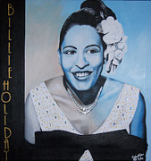 Famous Faces Painting Originals - Billie Holiday by Chelle Brantley