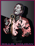 Billie Holiday Posters - Billie Holiday Jazz Singer Poster by Larry Butterworth